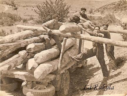 Cargando madera en camión